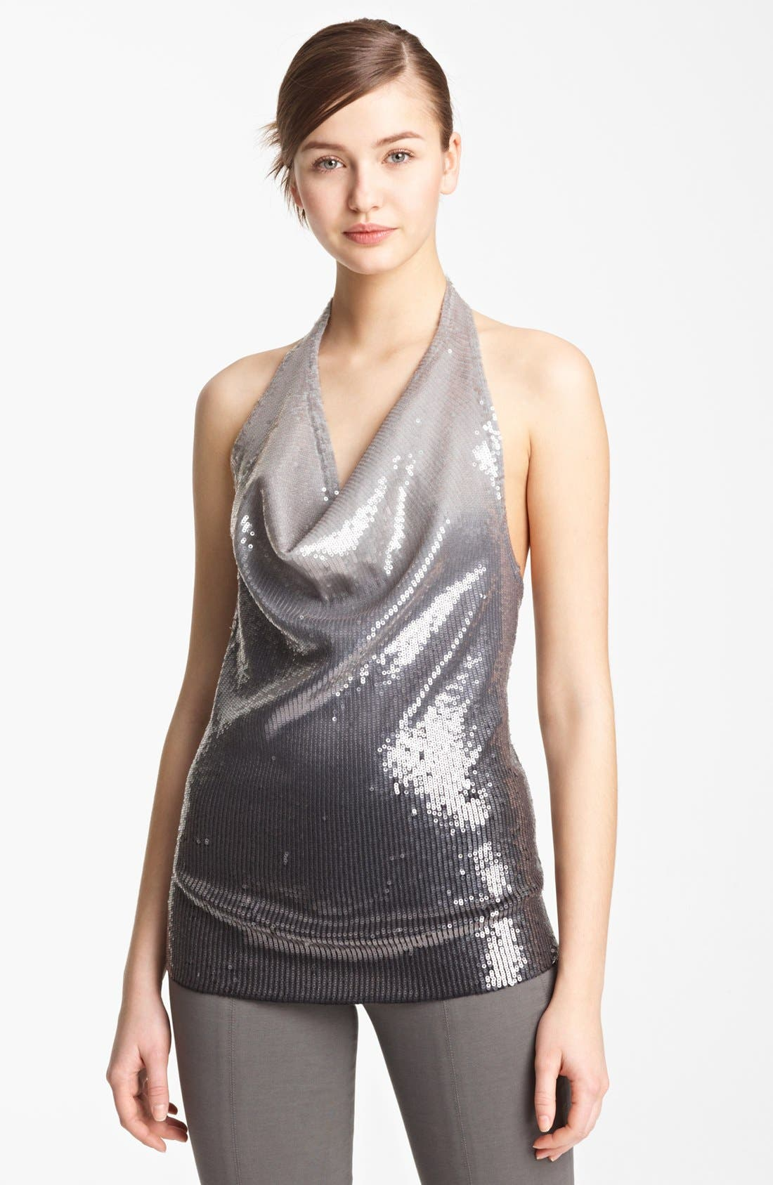 Main Image - Donna Karan Collection Ombré Sequin Cashmere Top
