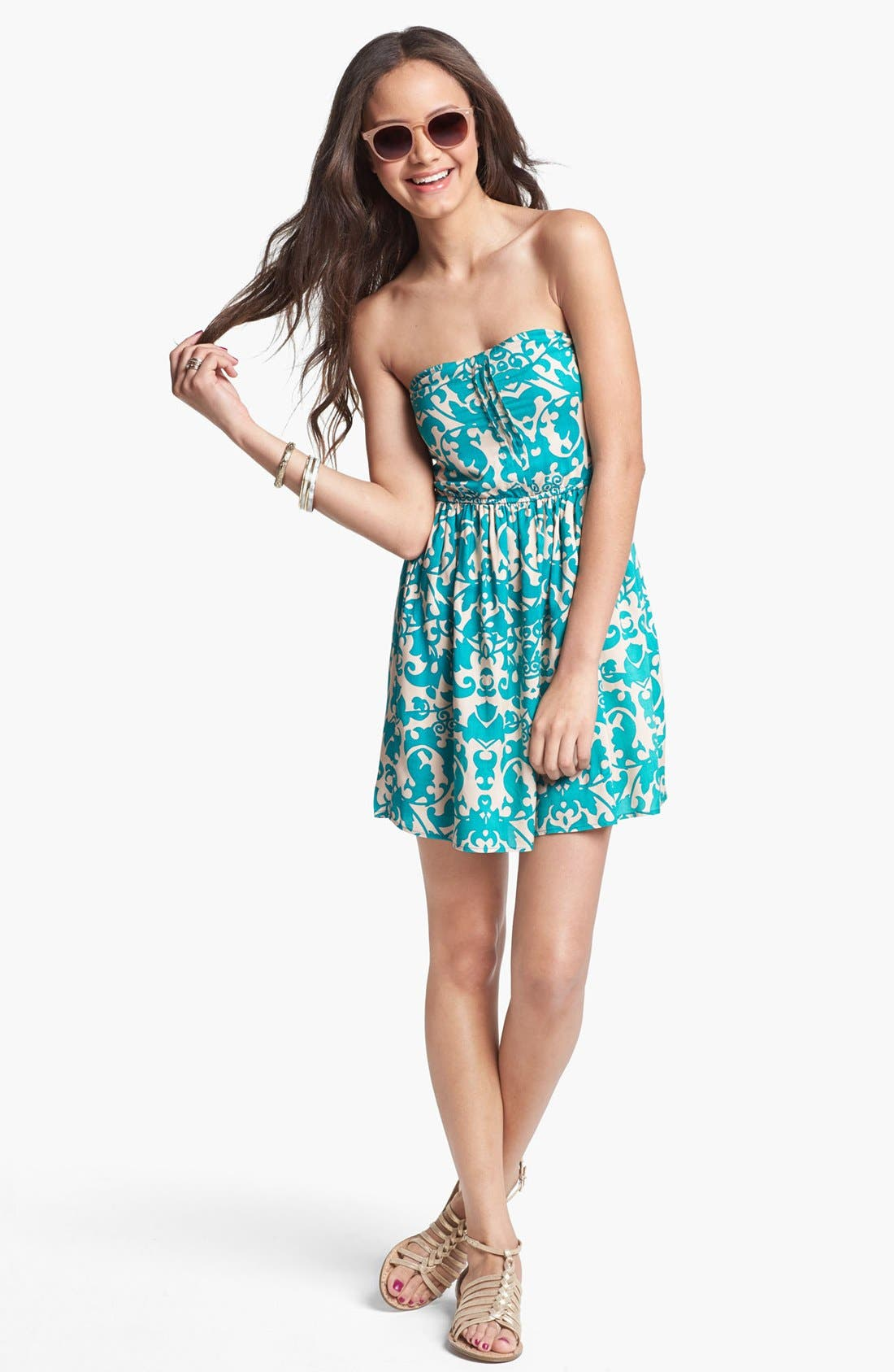 Main Image - dee elle 'Sweetheart' Strapless Dress (Juniors) (Online Only)