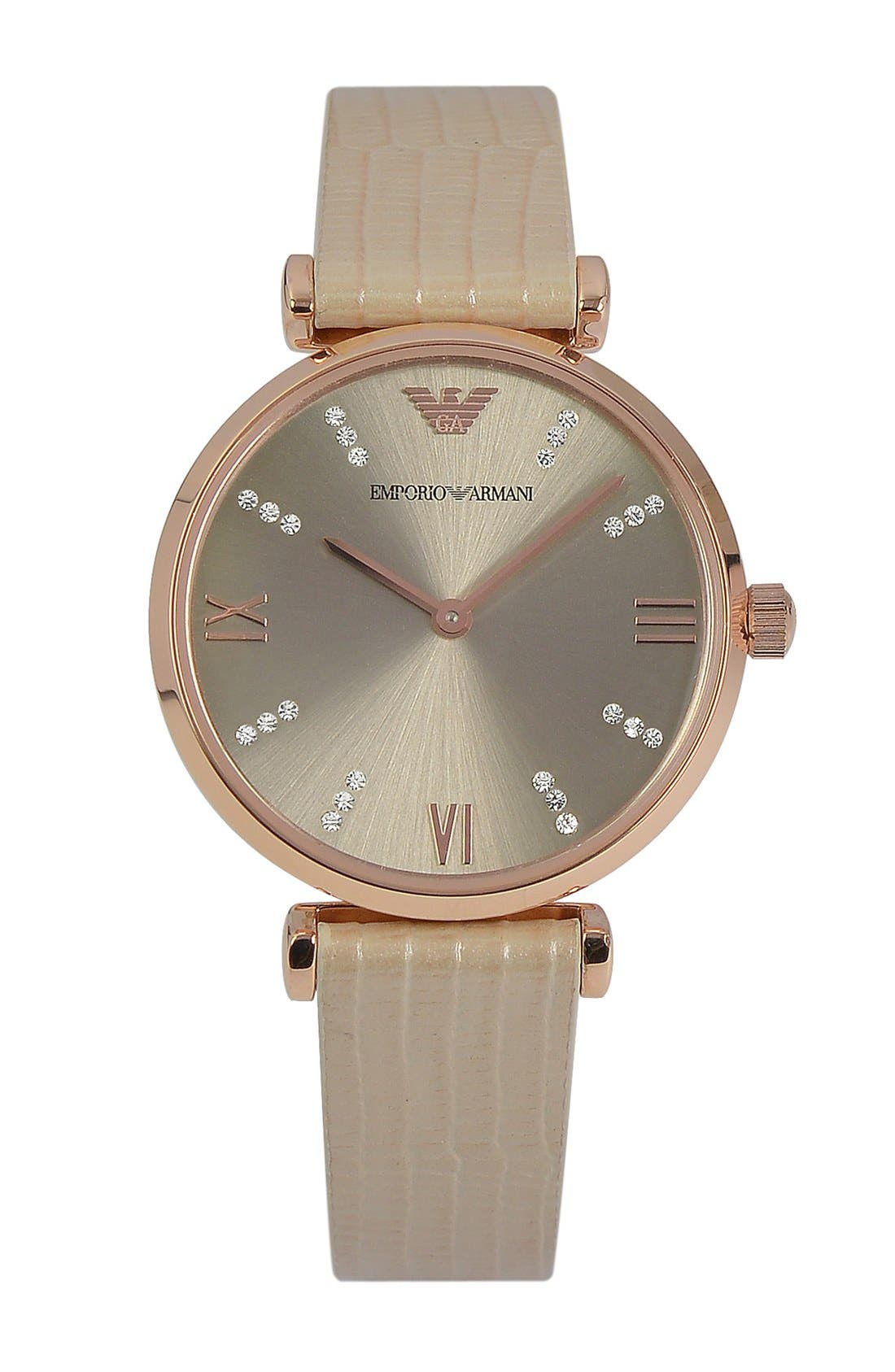 Main Image - Emporio Armani Crystal Marker Lizardskin Strap Watch, 32mm