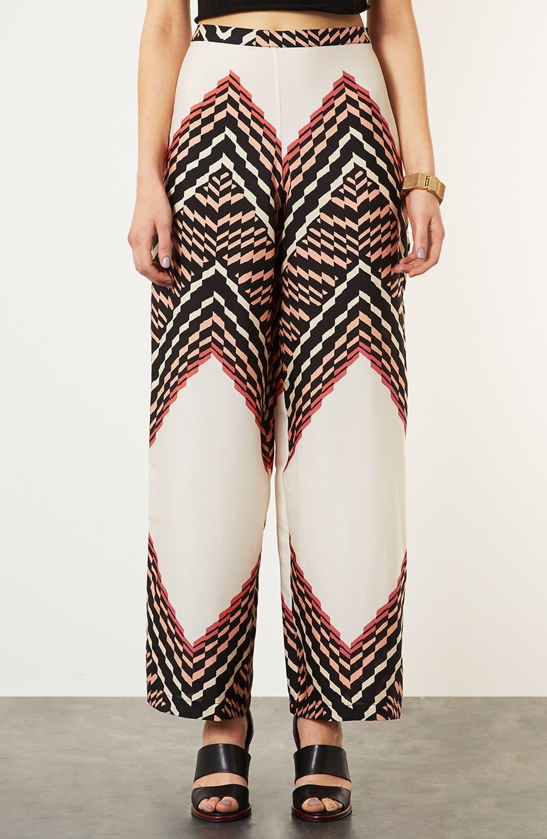 Alternate Image 1 Selected - Topshop Zigzag Print Wide Leg Trousers