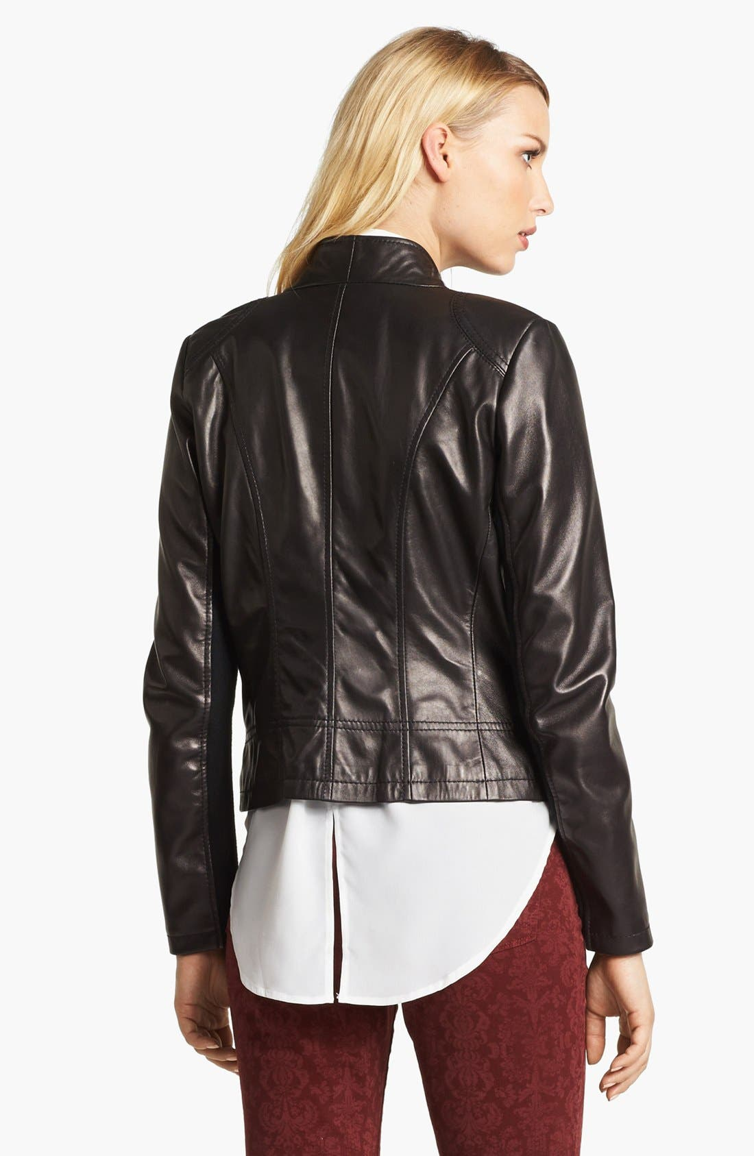 Alternate Image 2  - Calvin Klein Leather Moto Jacket