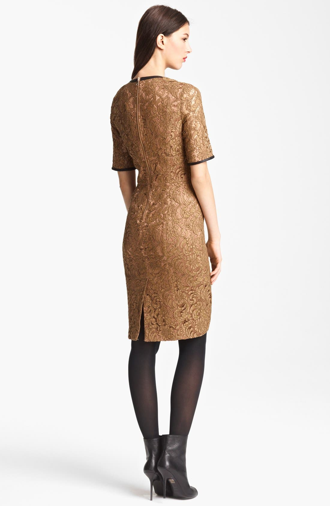 Alternate Image 2  - Burberry London Leather Trim Lace Dress