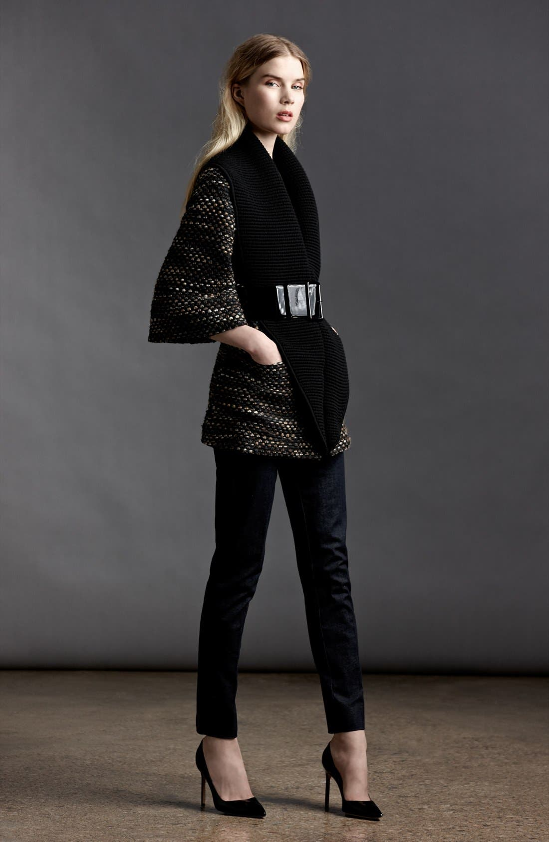 Alternate Image 5  - Armani Collezioni Belted Tweed Knit Coat