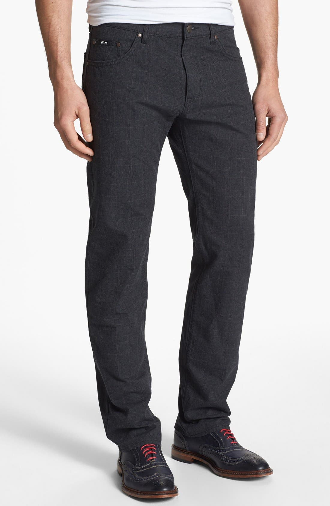 Alternate Image 1 Selected - BOSS HUGO BOSS 'Maine' Checked Straight Leg Five Pocket Pants