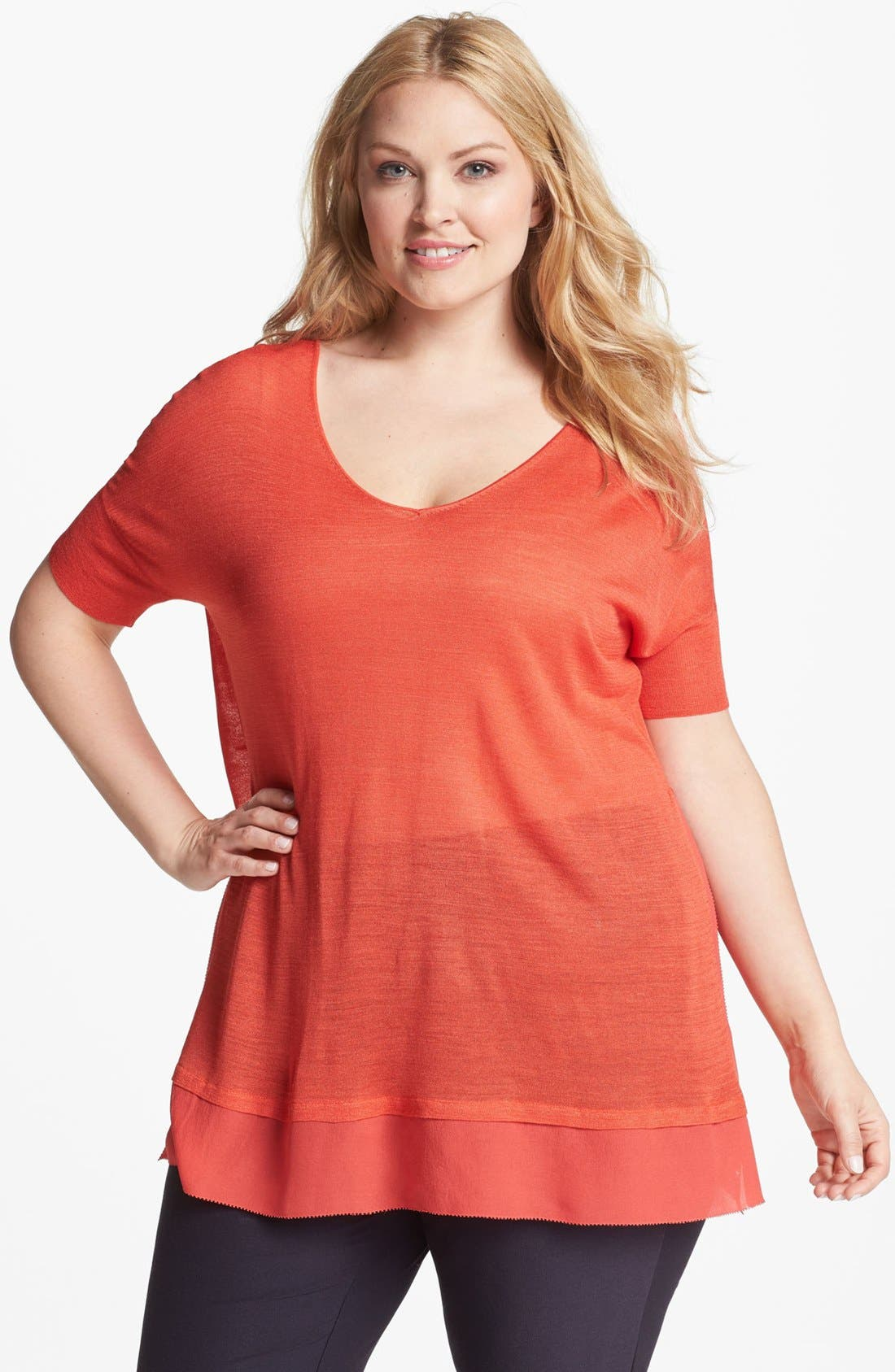 Alternate Image 1 Selected - Eileen Fisher Short Sleeve Top (Plus Size)