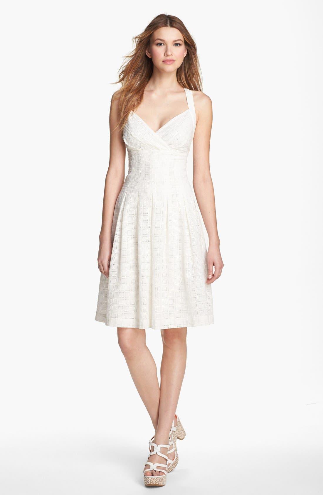 Alternate Image 1 Selected - Calvin Klein Eyelet Fit & Flare Dress