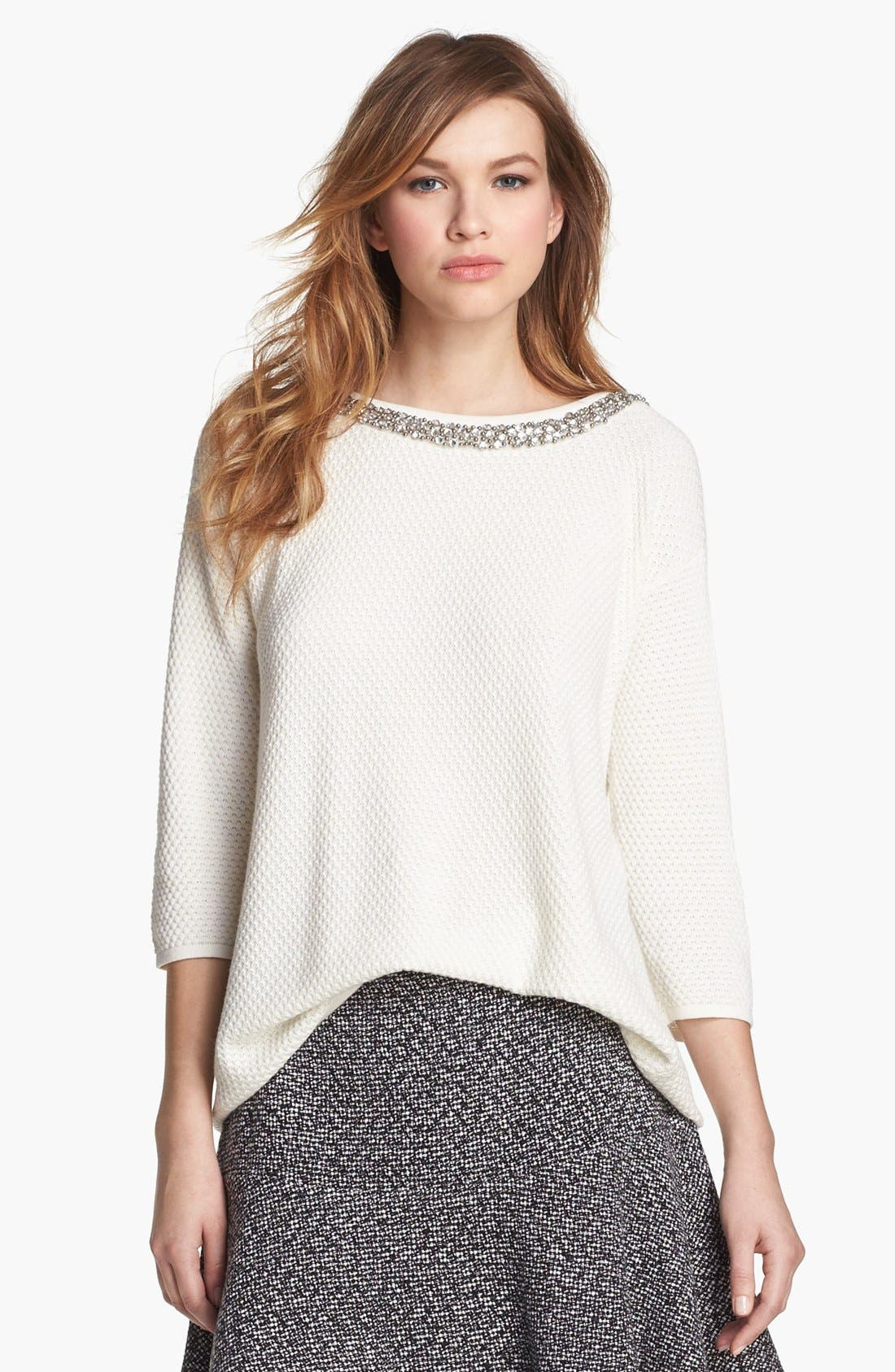 Alternate Image 1 Selected - Hinge® Jewel Neck Sweater
