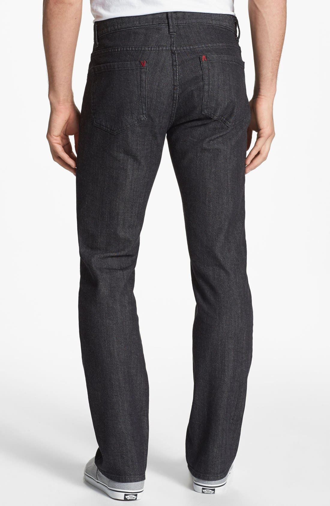 Alternate Image 1 Selected - RVCA Slim Straight Leg Jeans (Black)