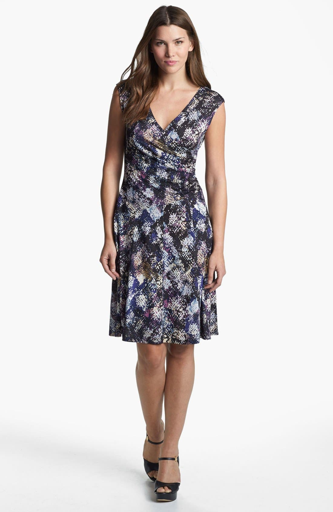 Main Image - NIC+ZOE Cap Sleeve Faux Wrap Print Dress