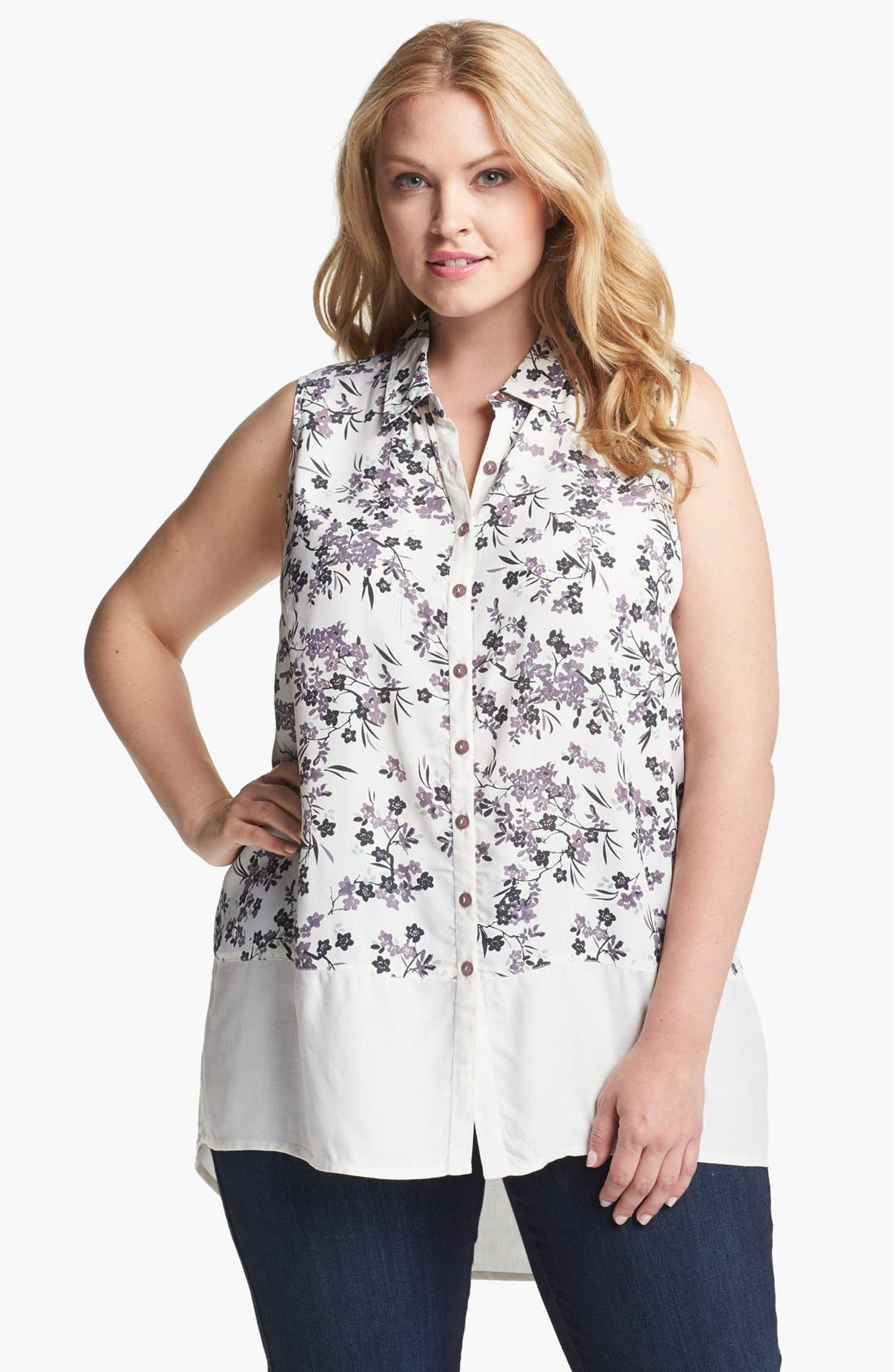 Main Image - Evans Sleeveless Print High/Low Tunic (Plus Size)