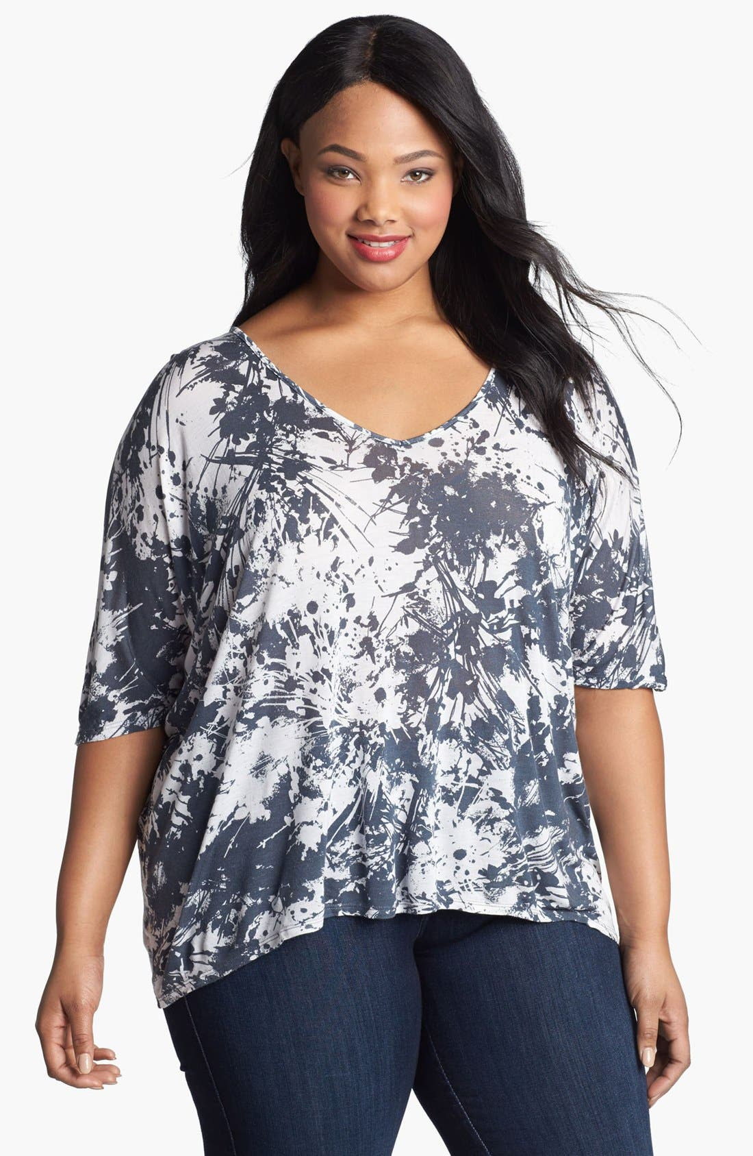 Main Image - Three Dots Relaxed Fit V-Neck Top (Plus Size)