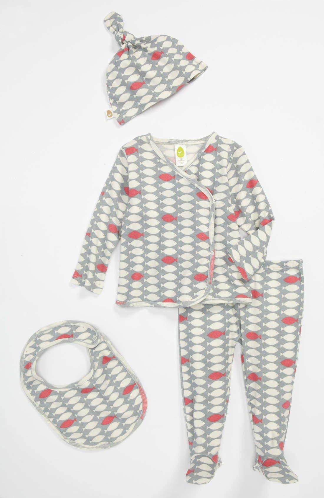 Alternate Image 1 Selected - Stem Baby Organic Cotton Shirt, Pants, Hat & Bib (Baby Girls)