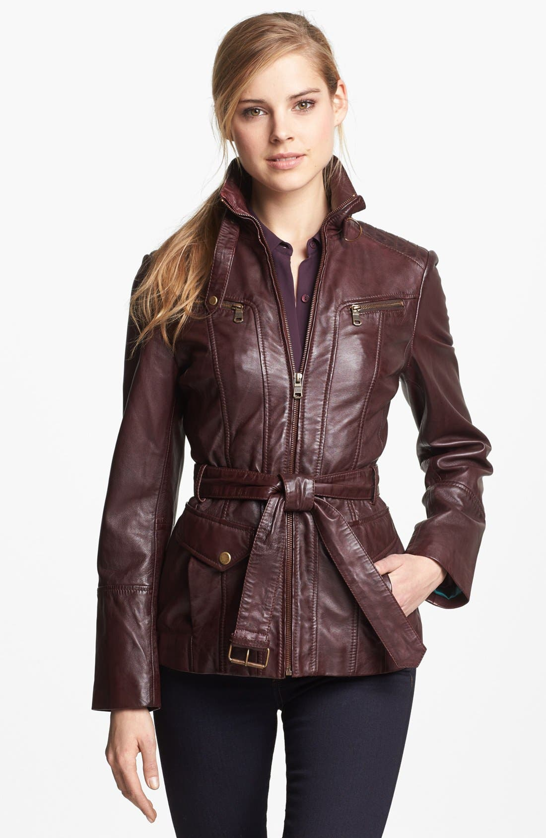 Main Image - Marc New York by Andrew Marc Belted Leather Jacket (Regular & Petite)
