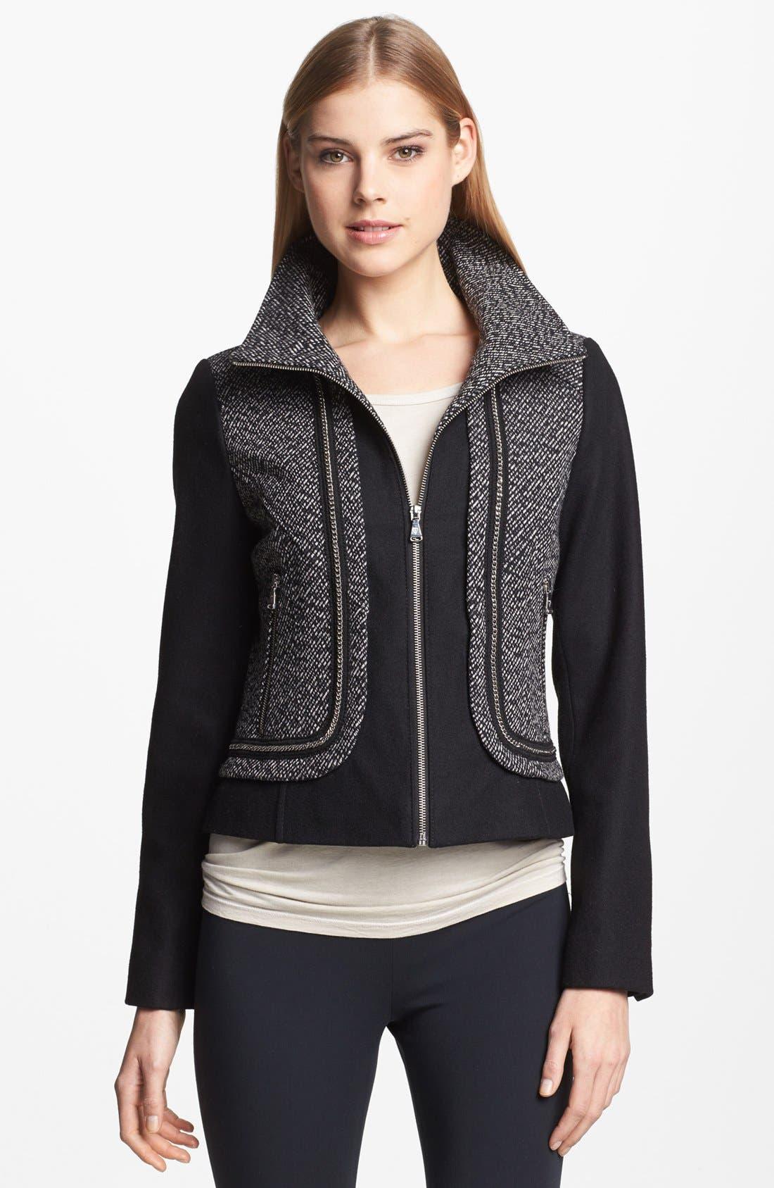 Alternate Image 1 Selected - GUESS Zip Front Mixed Media Jacket (Regular & Petite)