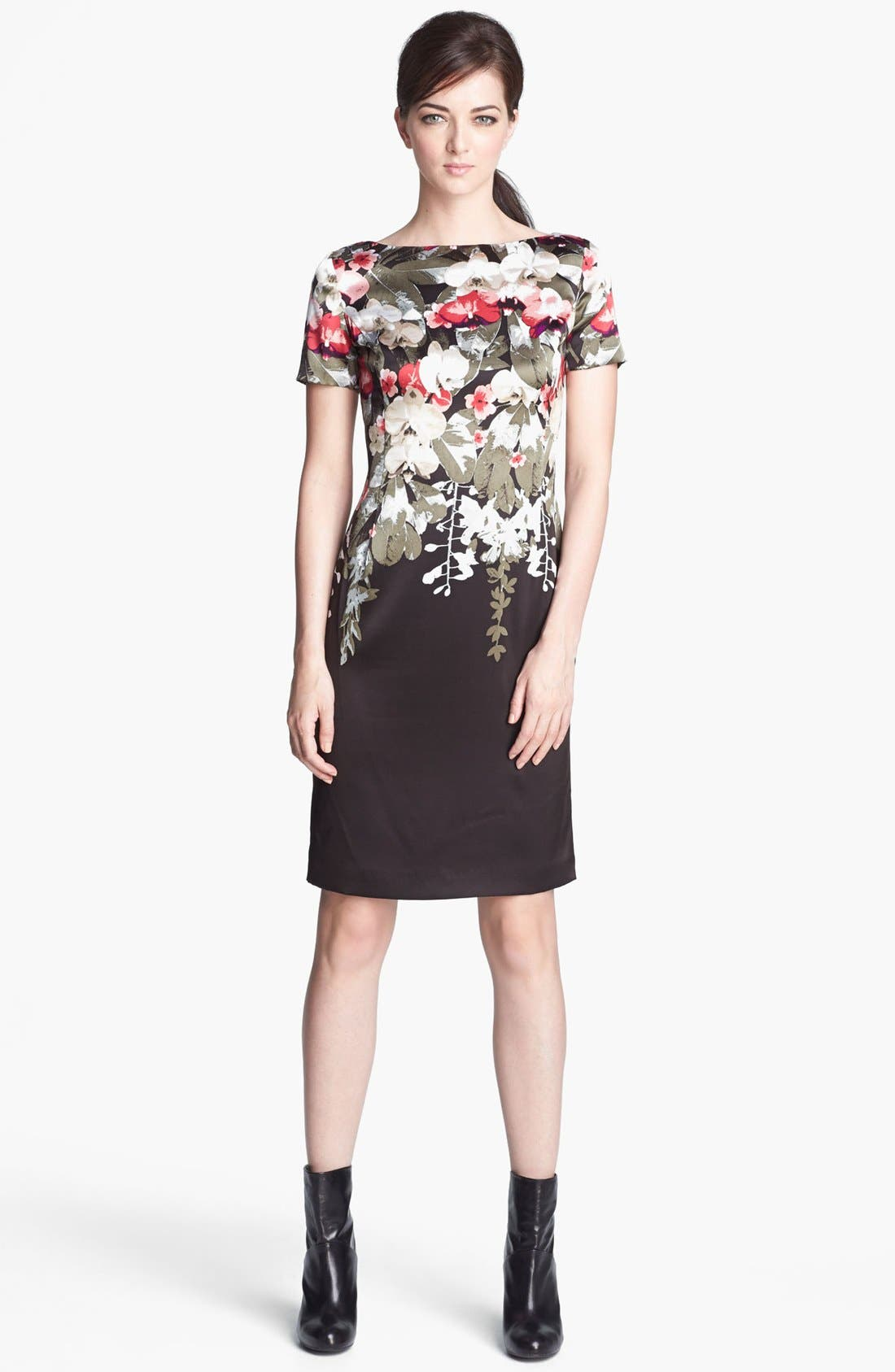 Main Image - St. John Collection Orchid Print Charmeuse Dress