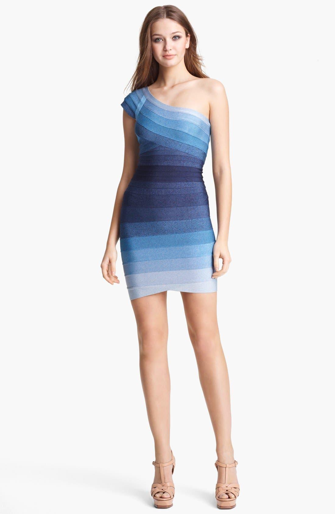 Main Image - Herve Leger Ombré One Shoulder Bandage Dress