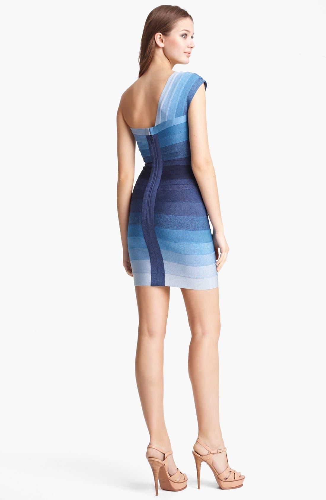 Alternate Image 2  - Herve Leger Ombré One Shoulder Bandage Dress