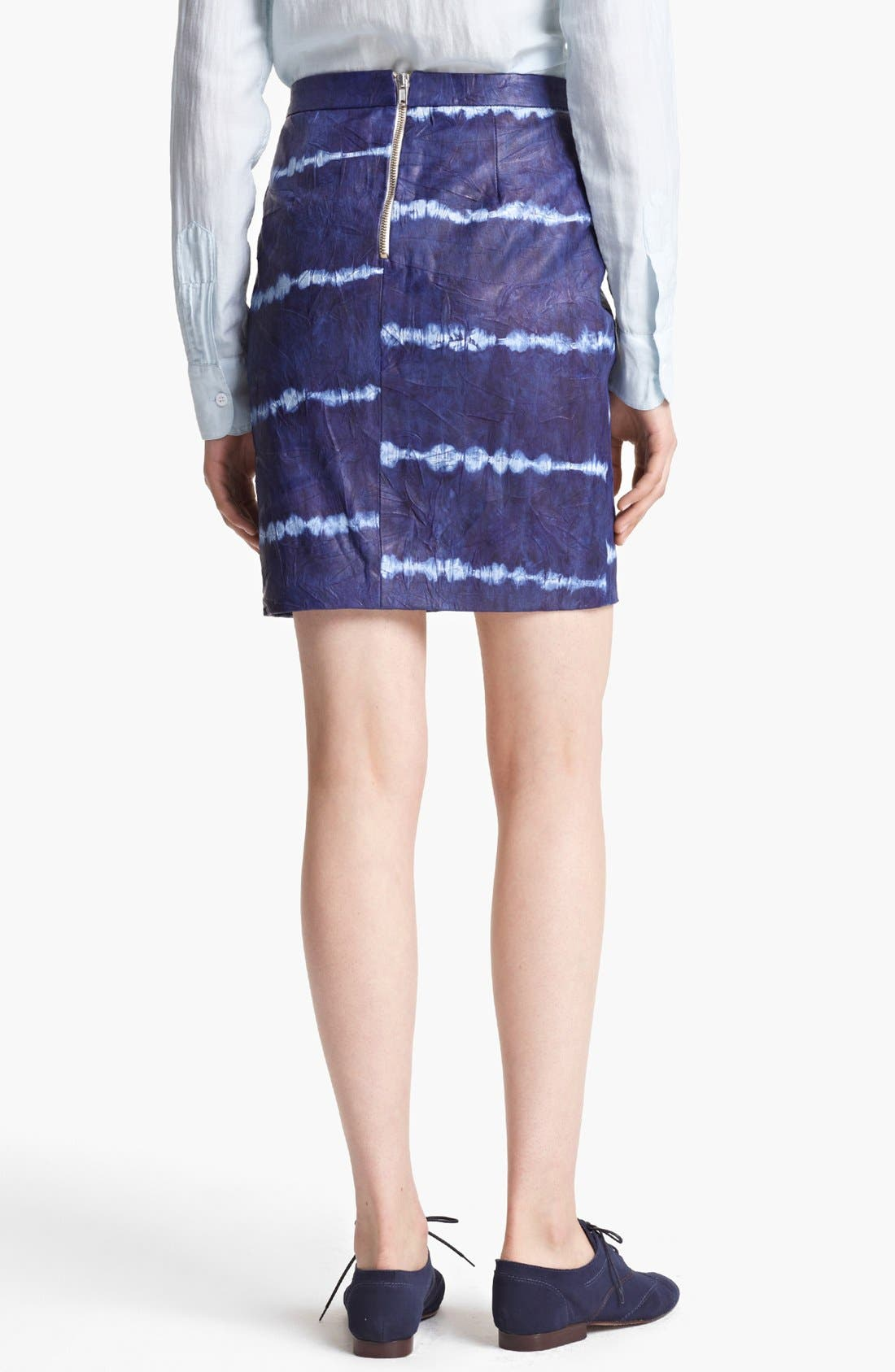 Alternate Image 2  - Band of Outsiders Tie Dye Leather Skirt