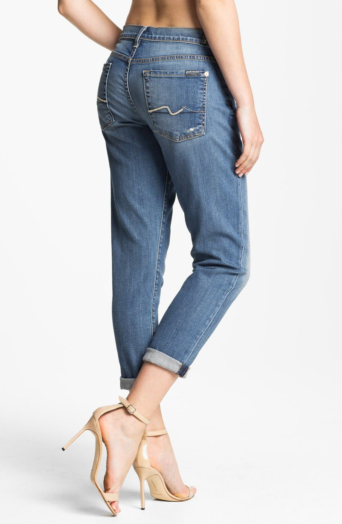 Alternate Image 2  - 7 For All Mankind® 'Josefina' Jeans (Light Blue Distressed)