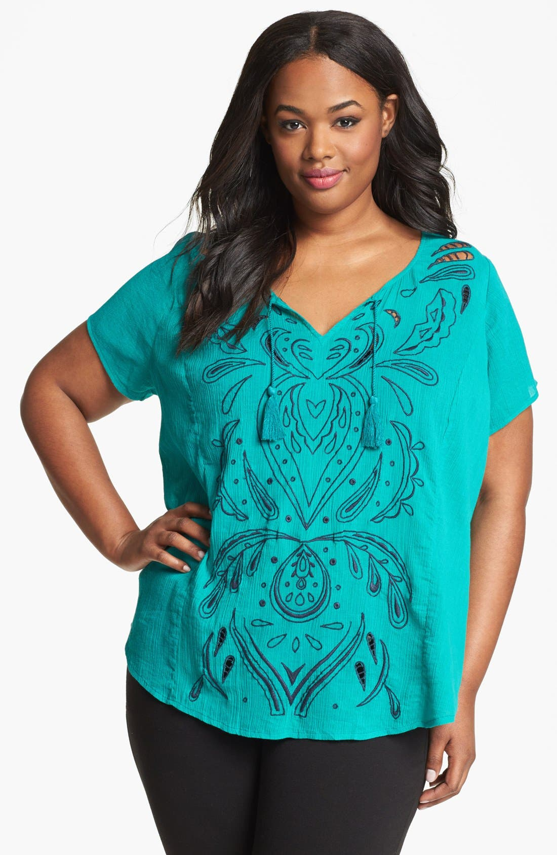 Alternate Image 1 Selected - Lucky Brand 'Juniper' Contrast Thread Cotton Top (Plus Size)
