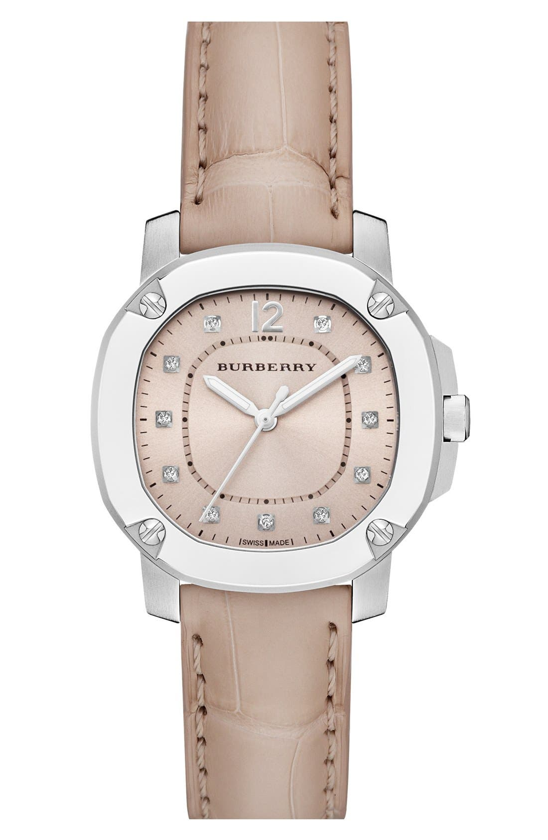 Alternate Image 1 Selected - Burberry The Britain Diamond Dial Alligator Strap Watch, 34mm