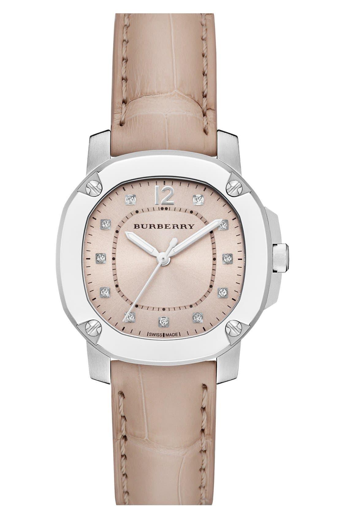 Main Image - Burberry The Britain Diamond Dial Alligator Strap Watch, 34mm