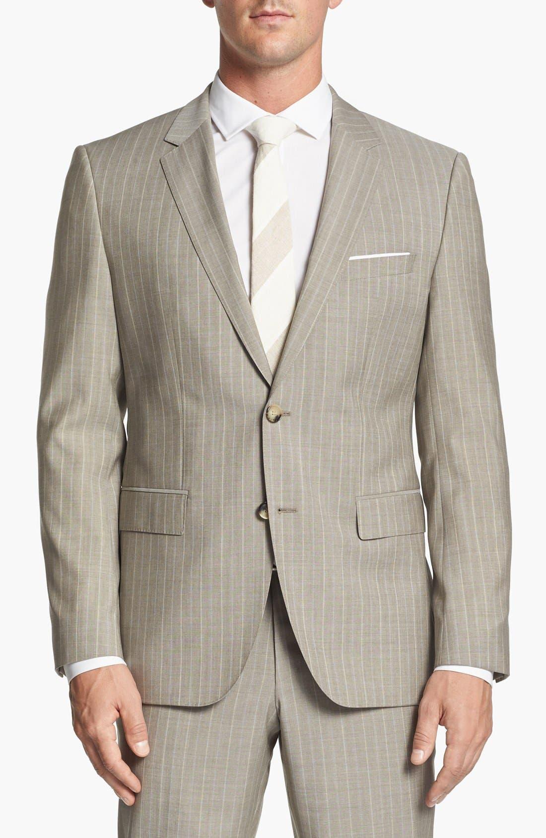 Alternate Image 4  - BOSS Black 'James/Sharp' Trim Fit Stripe Suit (Online Only)