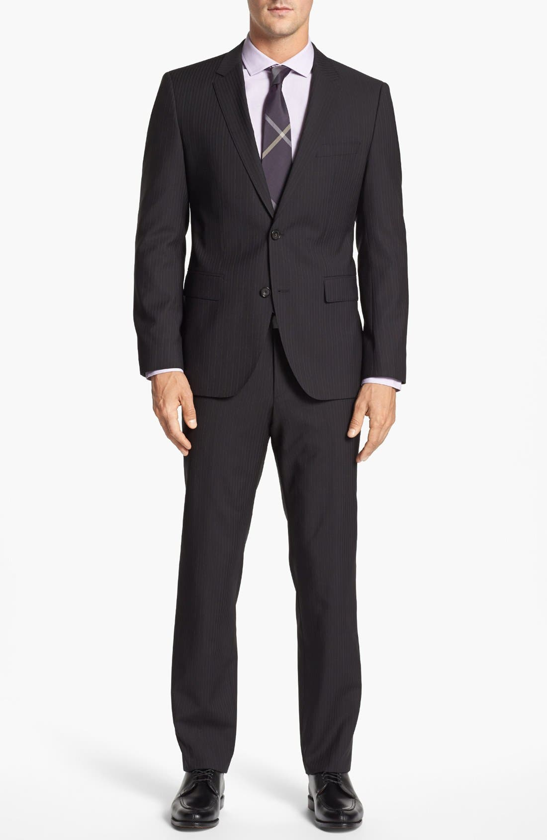 Alternate Image 1 Selected - BOSS Black 'James/Sharp' Trim Fit Stripe Suit (Online Only)