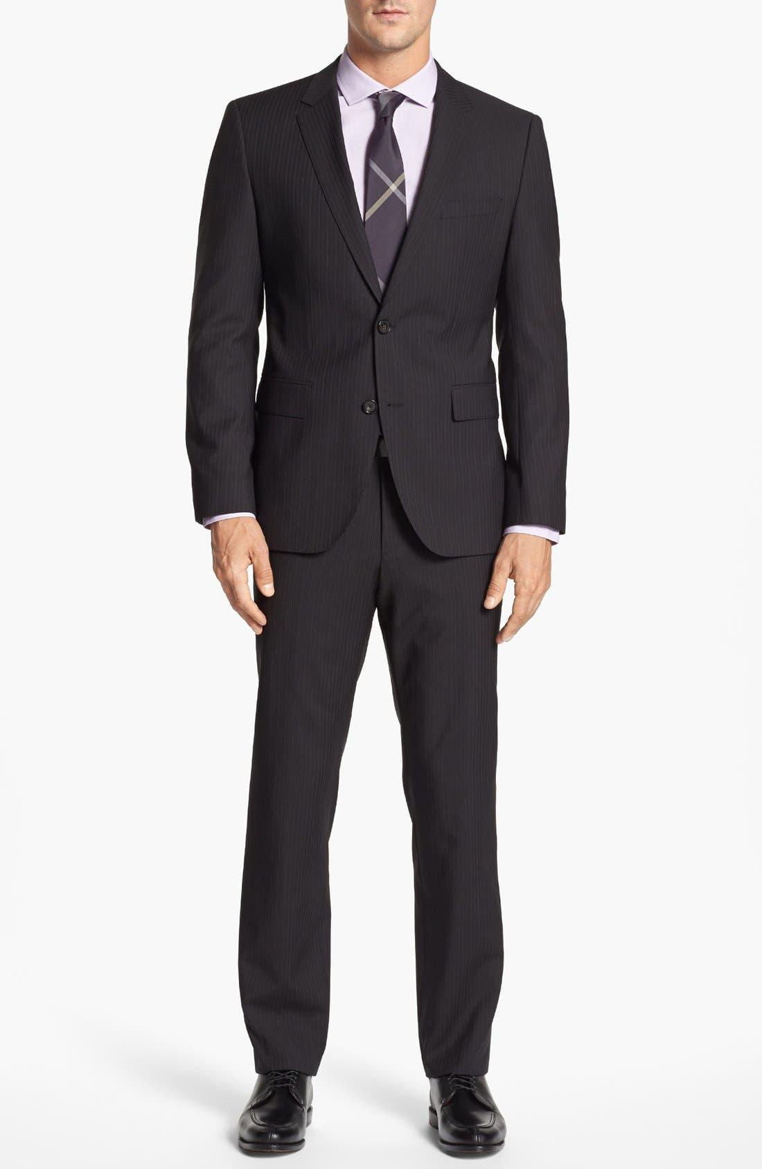 Main Image - BOSS Black 'James/Sharp' Trim Fit Stripe Suit (Online Only)