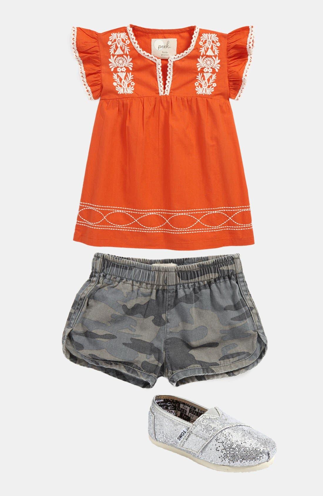 Alternate Image 1 Selected - Peek Dress & Shorts, TOMS Slip-On