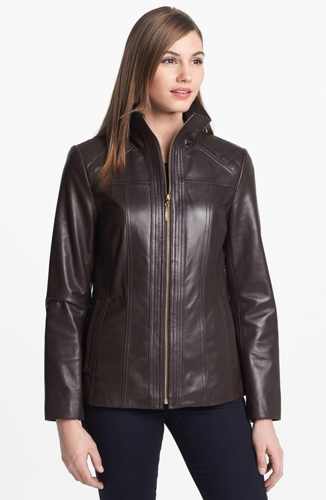 Main Image - Ellen Tracy Quilt Trim Leather Jacket