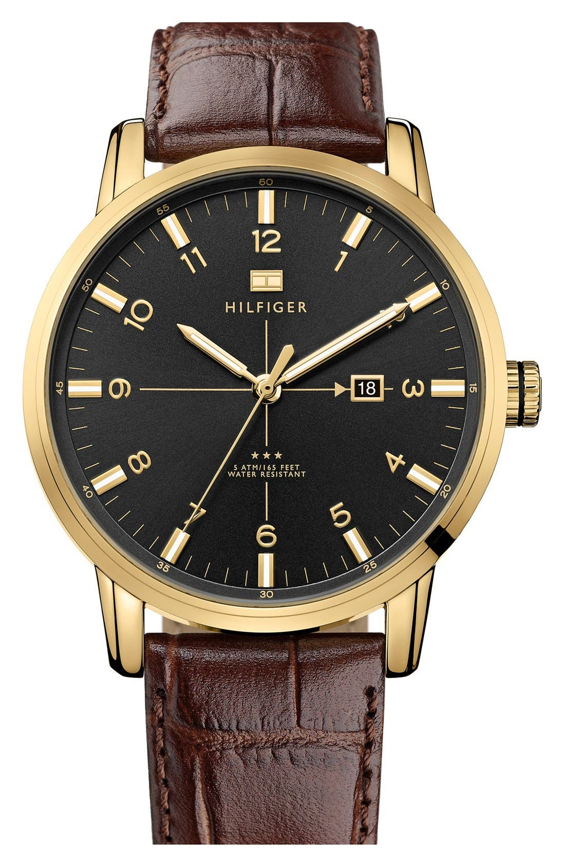 Alternate Image 1 Selected - Tommy Hilfiger Round Embossed Leather Strap Watch, 44mm