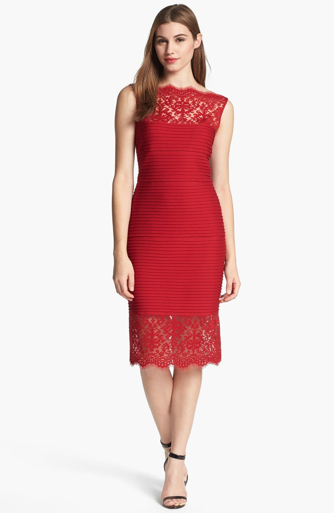 Main Image - Tadashi Shoji Lace Detail Sleeveless Pencil Dress