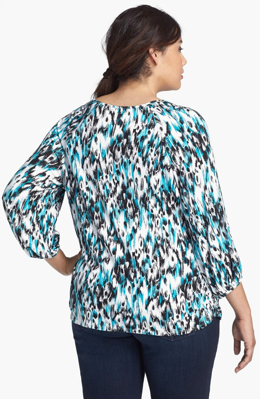 Alternate Image 2  - Sejour 'Siro' Print V-Neck Top (Plus Size)