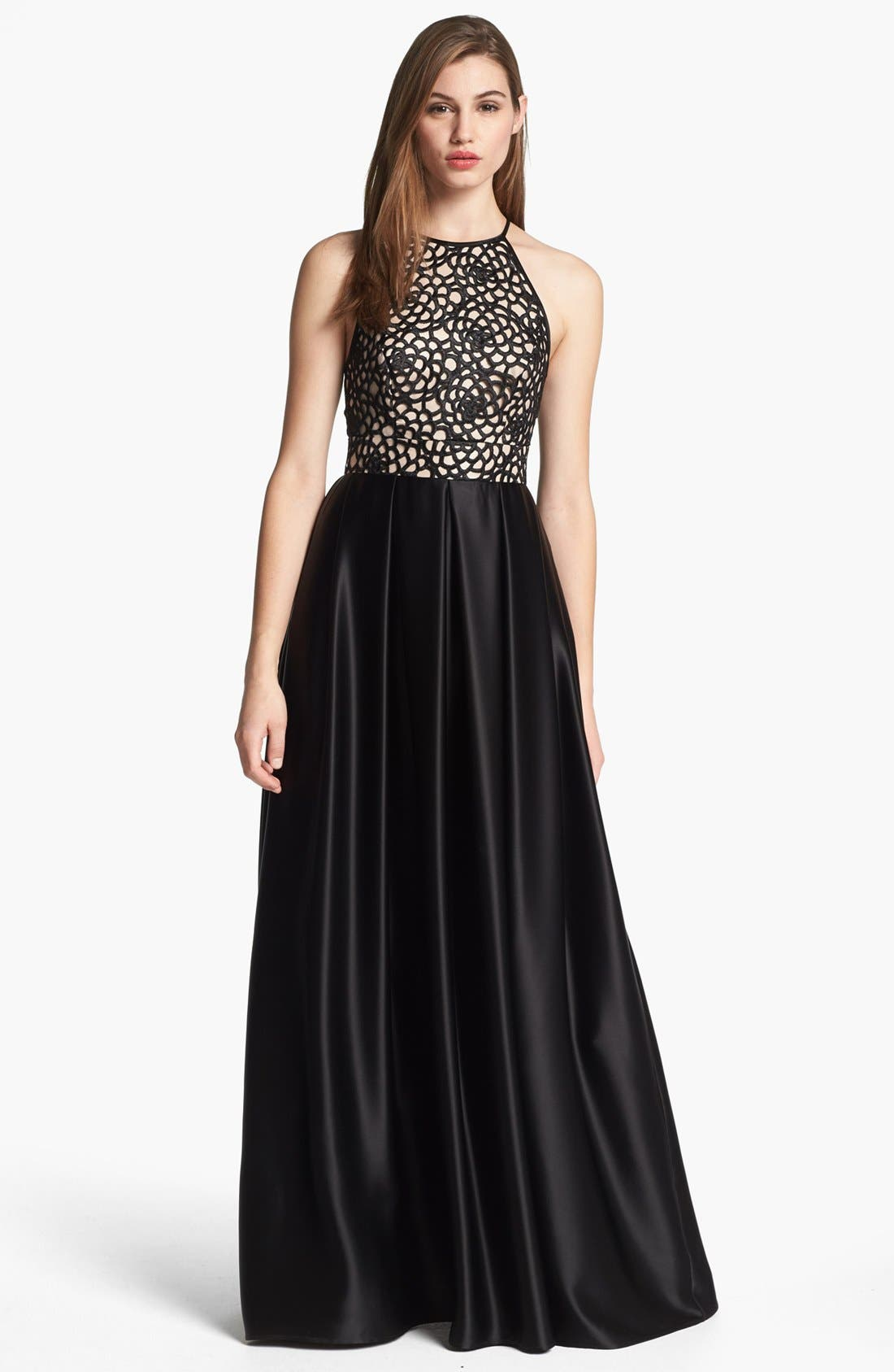 Alternate Image 1 Selected - ABS by Allen Schwartz Embroidered Bodice & Satin Skirt Gown