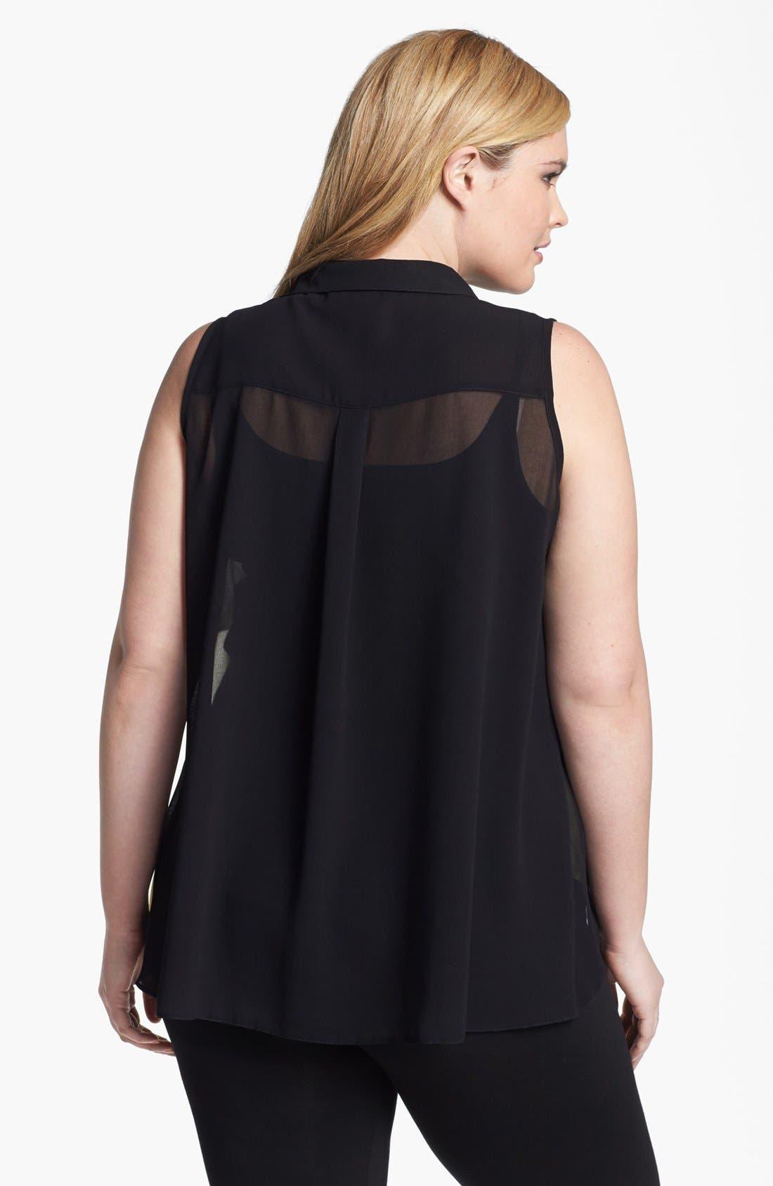 Alternate Image 2  - Evans Sleeveless Layered Chiffon Blouse (Plus Size)