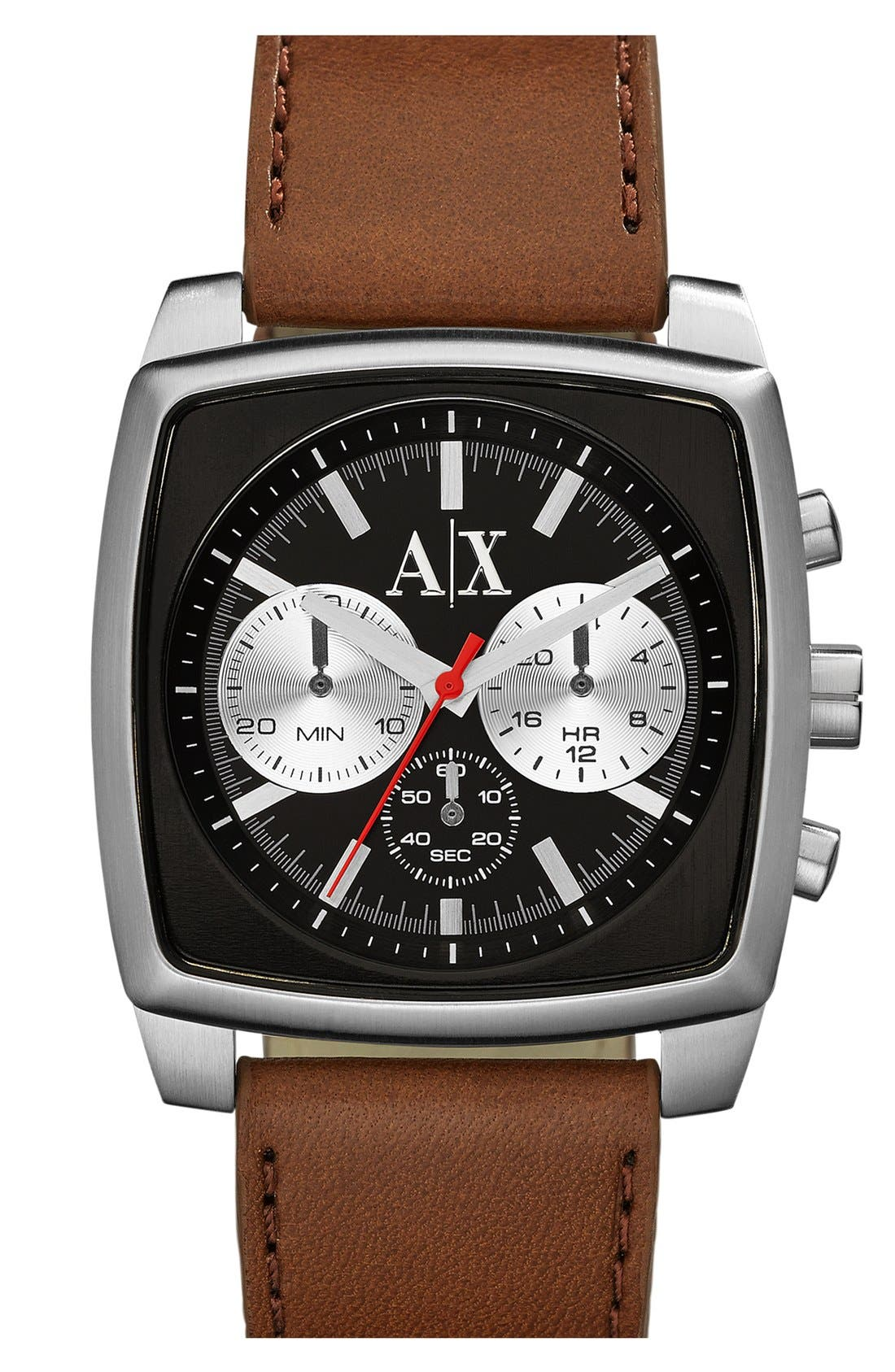 Alternate Image 1 Selected - AX Armani Exchange Square Chronograph Leather Strap Watch, 40mm
