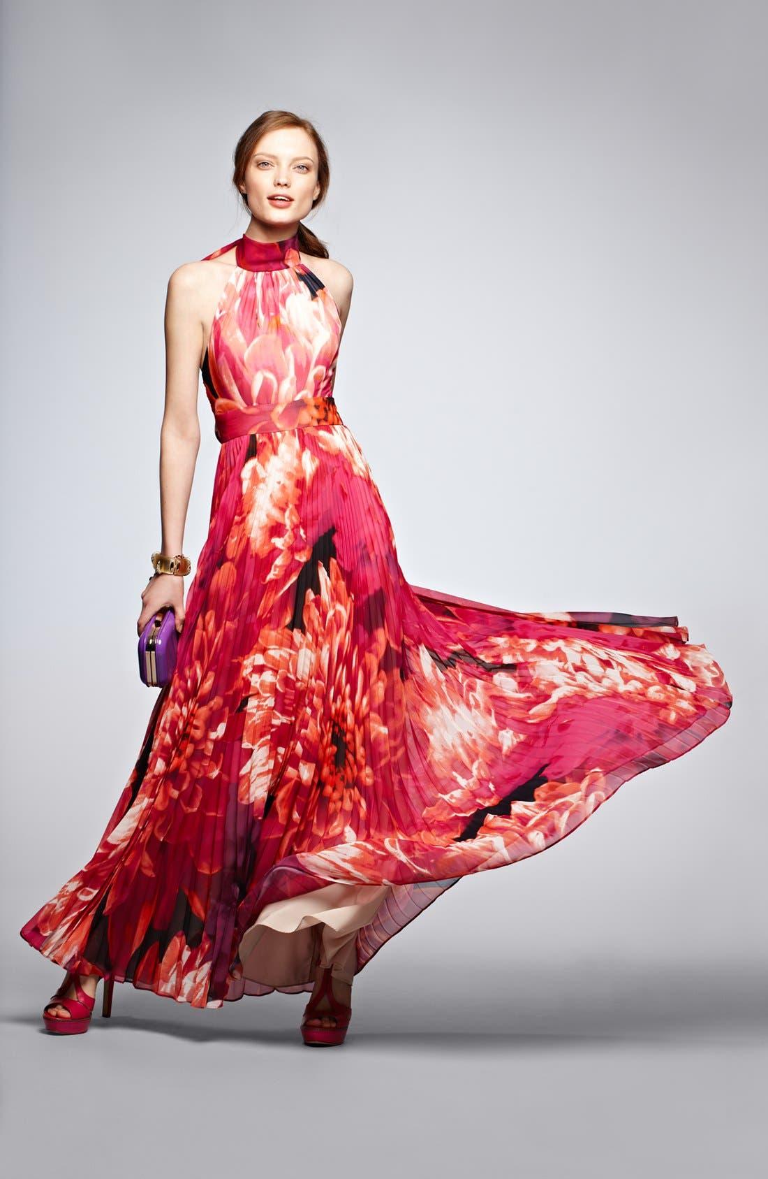 Alternate Image 4  - Eliza J Print Chiffon Halter Maxi Dress