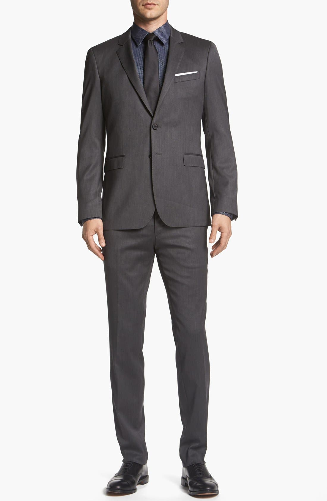 Alternate Image 1 Selected - BOSS HUGO BOSS 'Ryan/Win' Extra Trim Fit Suit