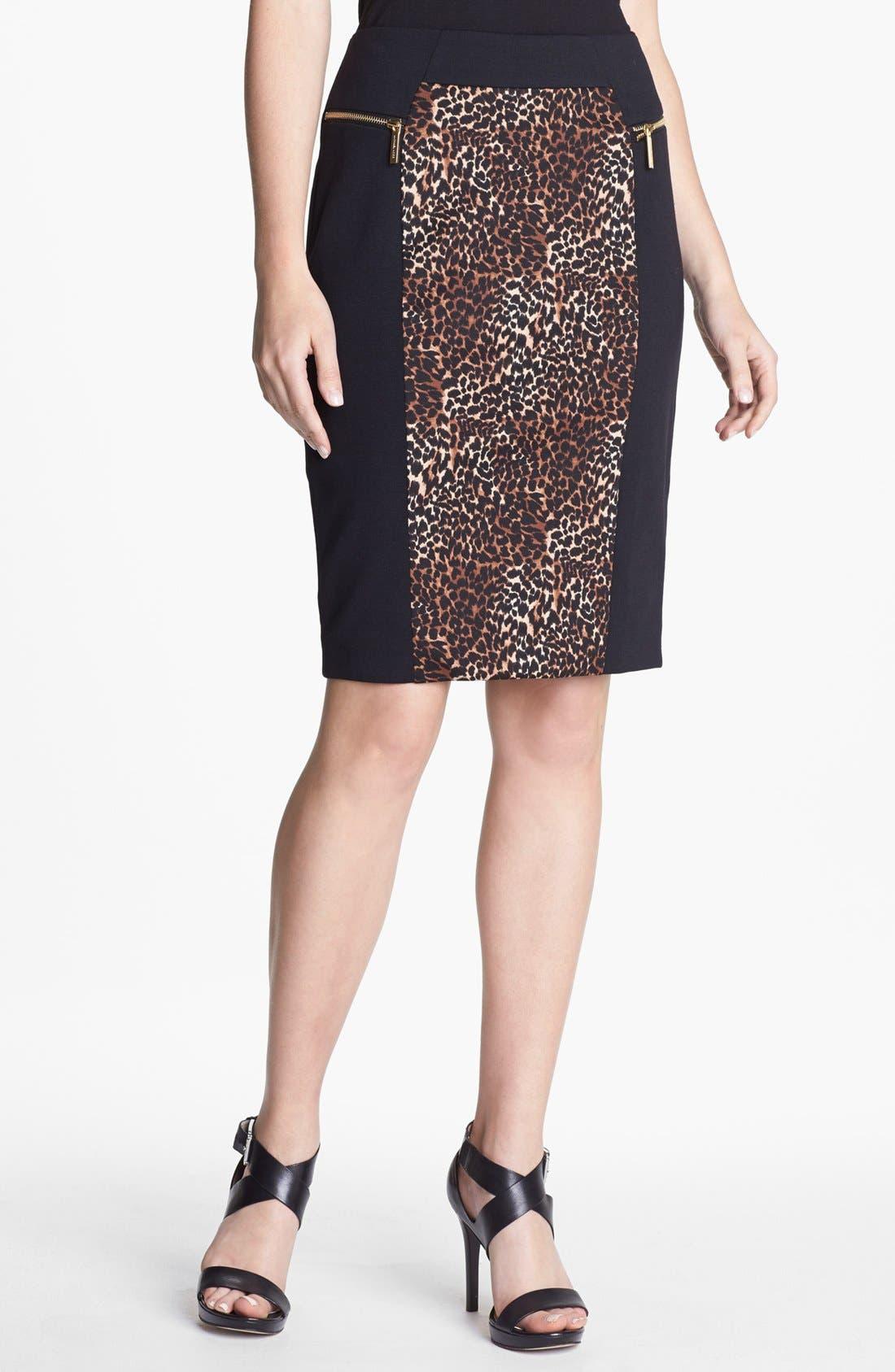 Main Image - MICHAEL Michael Kors Colorblock Print Ponte Skirt (Regular & Petite)