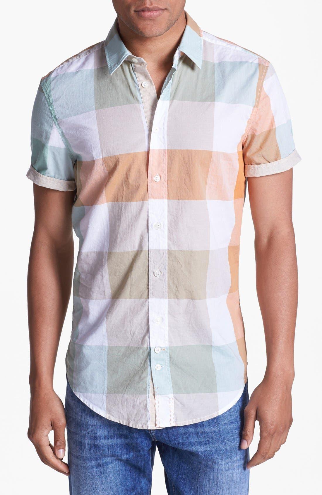 Alternate Image 1 Selected - BOSS Orange 'Cliffi' Short Sleeve Check Shirt