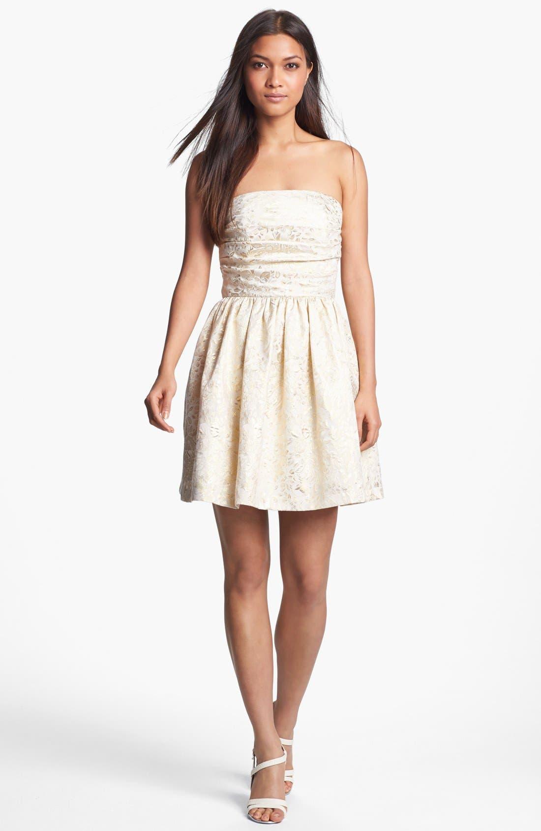 Alternate Image 1 Selected - Wyton Metallic Brocade Fit & Flare Dress