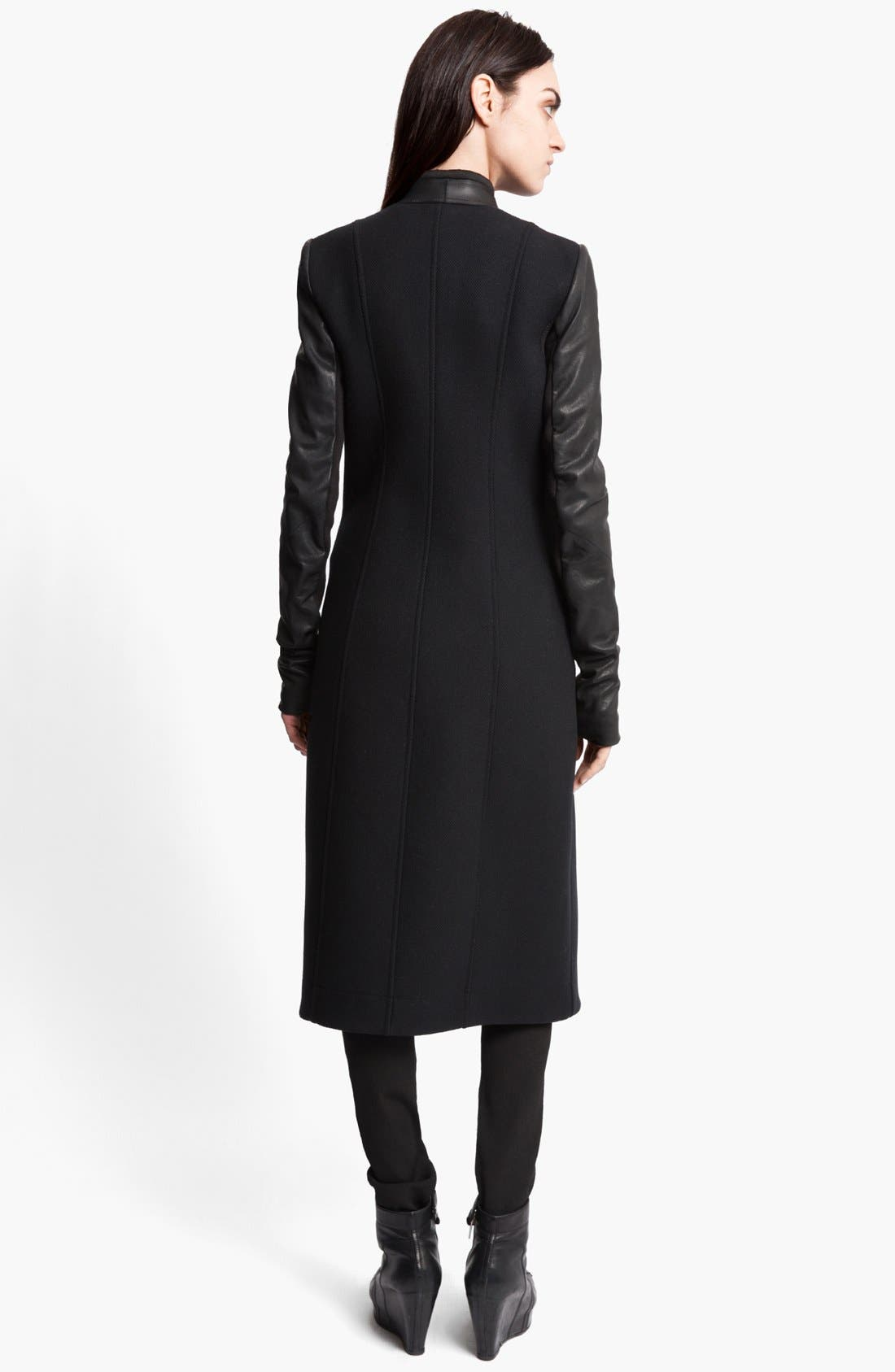 Alternate Image 2  - Rick Owens Long Leather Trim Coat