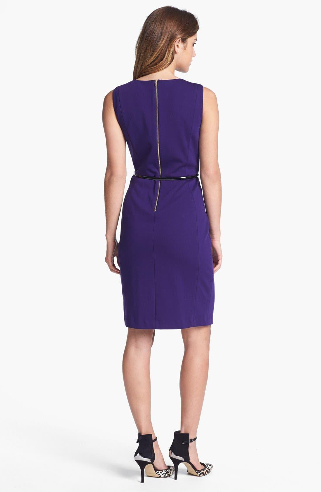 Alternate Image 2  - Calvin Klein Belted Ponte Sheath Dress (Online Only)