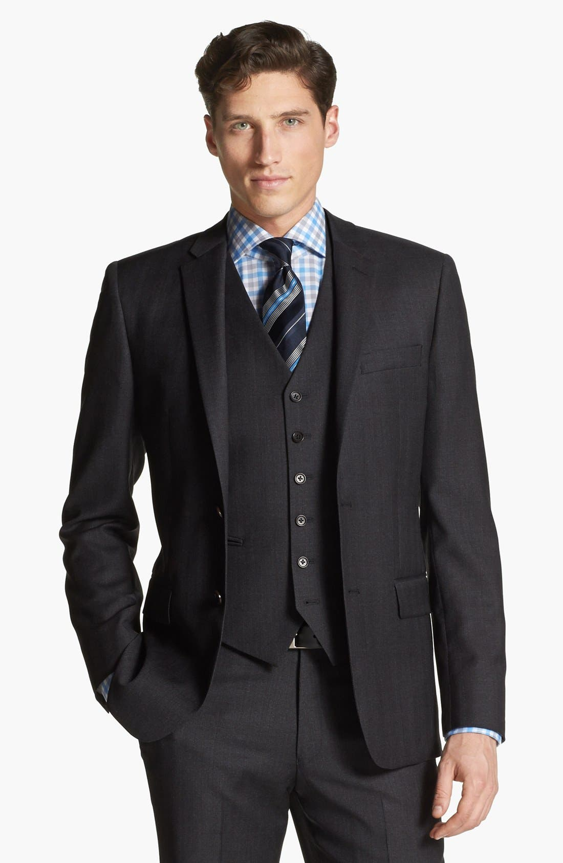 Alternate Image 4  - John Varvatos Star USA 'Townshend' Trim Fit Three Piece Suit