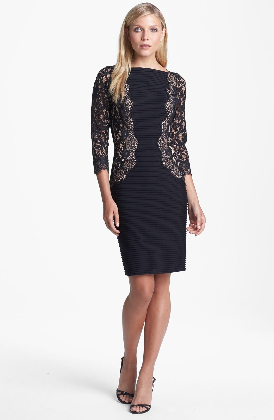 Main Image - Tadashi Shoji Lace & Jersey Sheath Dress (Regular & Petite)