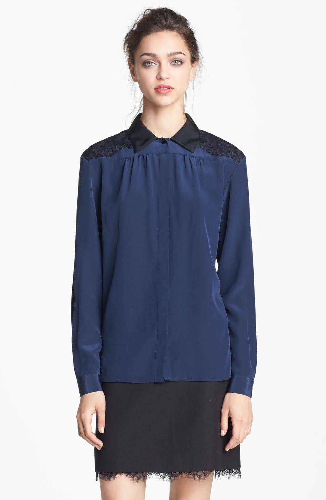 Alternate Image 3  - Miss Wu Lace & Crêpe de Chine Blouse (Nordstrom Exclusive)