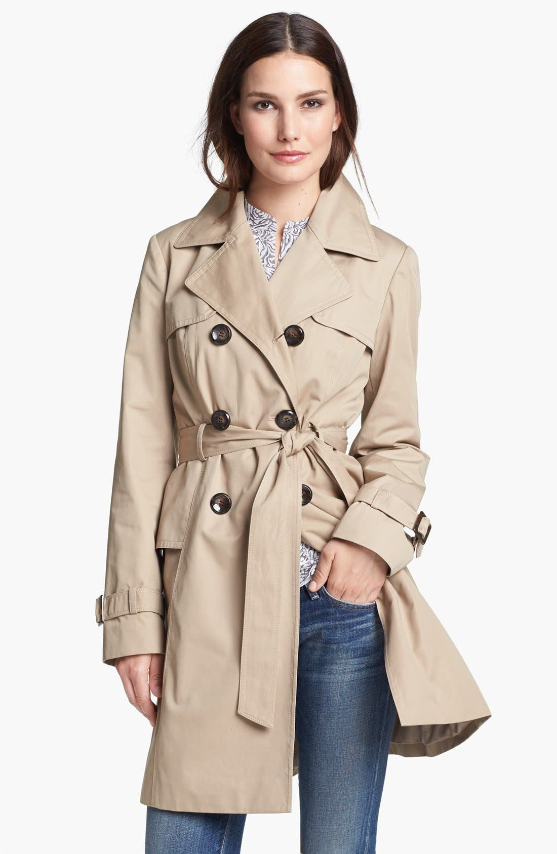Alternate Image 1 Selected - Ellen Tracy Double Breasted Trench Coat (Regular & Petite)