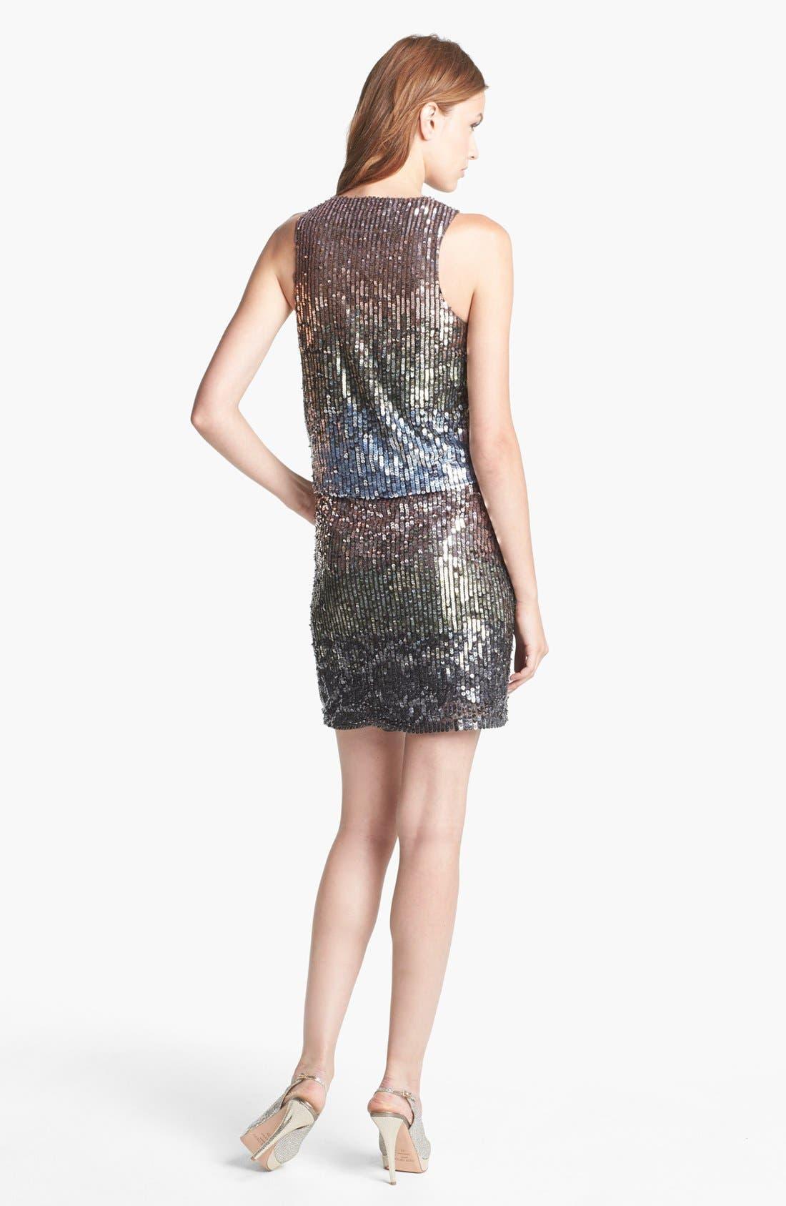 Alternate Image 2  - Nicole Miller Sleeveless Ombré Sequin Dress