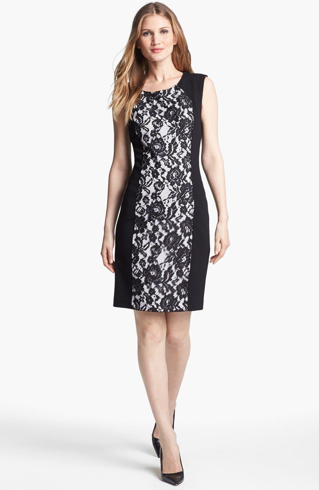 Main Image - Lafayette 148 New York Lace Front Punto Milano Dress